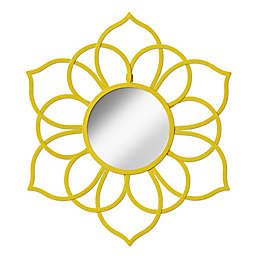 Kate And Laurel Brienne 21-Inch x 24-Inch Round Flower Wall Mirror in Yellow