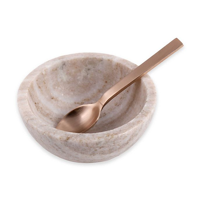 Alternate image 1 for Artisanal Kitchen Supply® 2-Piece Sand Marble Salt Bowl and Spoon Set