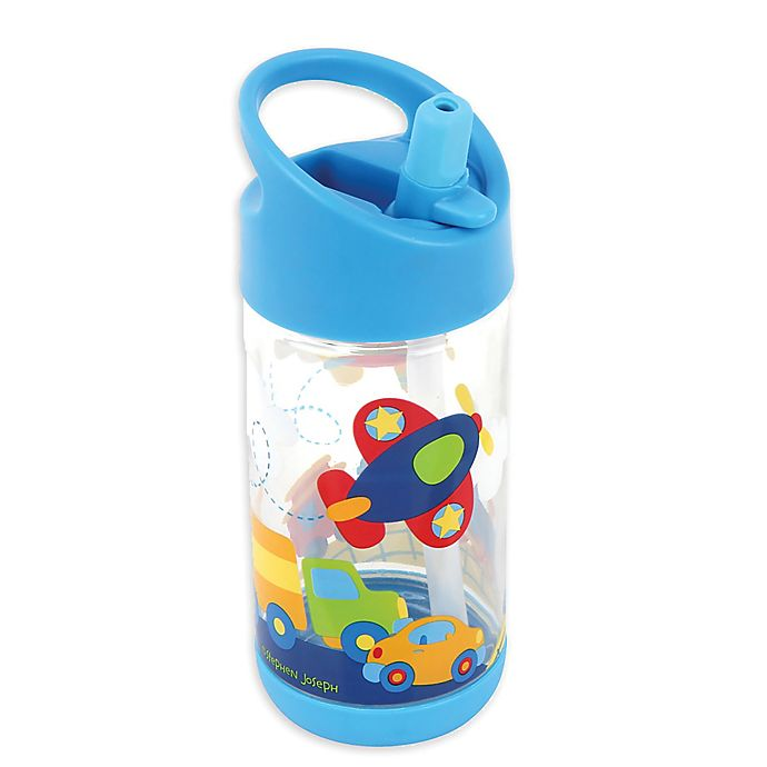 Alternate image 1 for Stephen Joseph® Transportation Flip Top Bottle in Blue