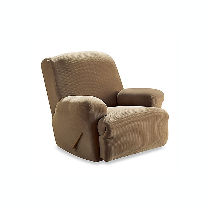 Alternate image 1 for Stretch Pinstripe Taupe Recliner Slipcover by Sure Fit®
