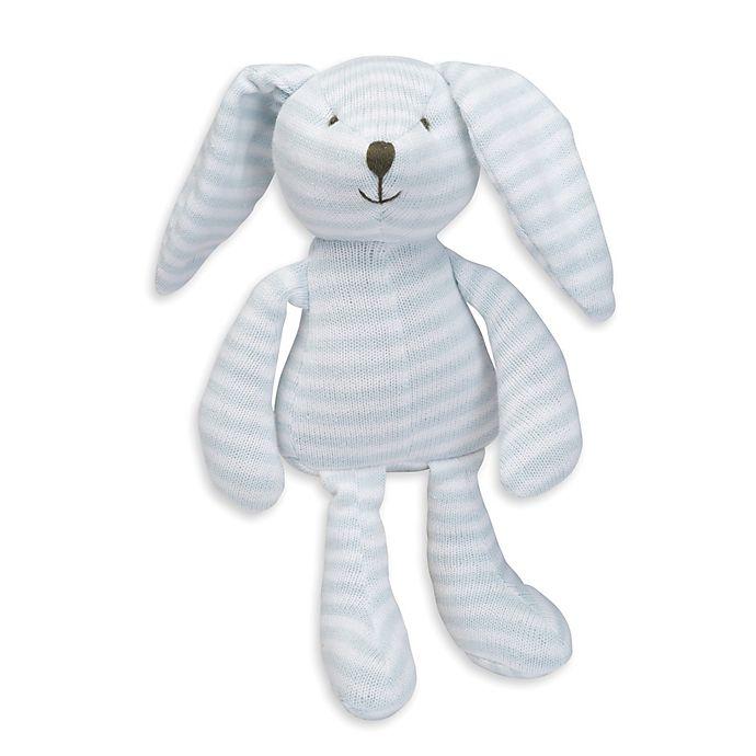Alternate image 1 for Elegant Baby® Striped Plush Bunny in Blue