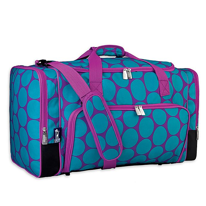 Wildkin Weekender Duffel Bag In Aqua Purple Dot Bed Bath