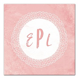 Designs Direct Little Lady Flower Mongoram 16-Inch x 16-Inch Canvas Wall Art in Pink