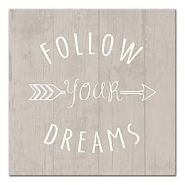 Designs Direct Little Lady Follow Your Dreams Arrow 12-Inch x 12-Inch Canvas Wall Art in Grey