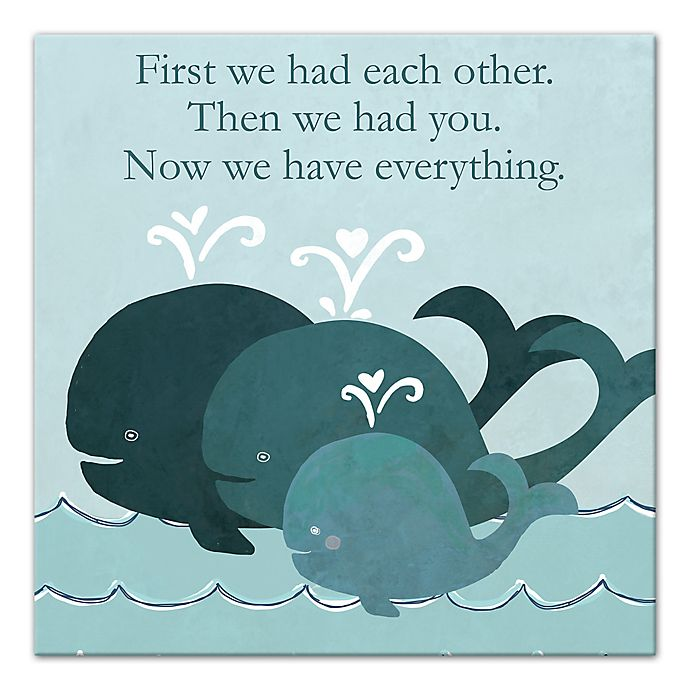 Alternate image 1 for Designs Direct First Mate Little Whale Family 12-Inch x 12-Inch Canvas Wall Art in Blue