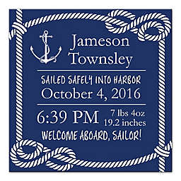 Designs Direct First Mate Sailor Birth Announcement 16-Inch x16-Inch Canvas Wall Art in Navy/White