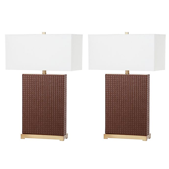 Alternate image 1 for Safavieh Joyce Faux Leather Table Lamp in Brown (Set of 2)