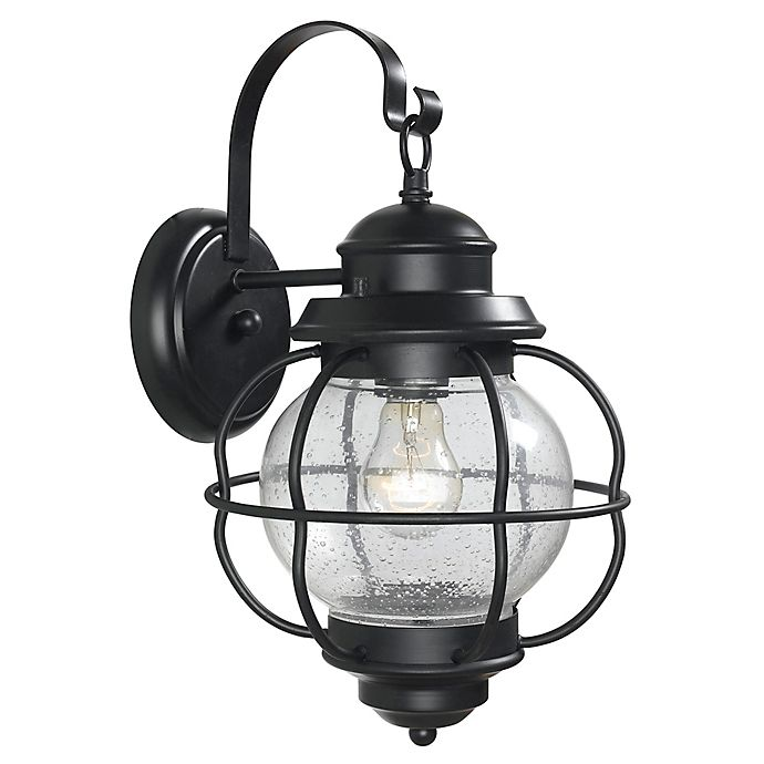 Alternate image 1 for Kenroy Home Hatteras 15-Inch Outdoor Wall Lantern in Black