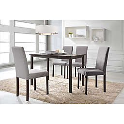 Baxton Studio Andrew Rectangle Dining Table Set in Brown/Beige