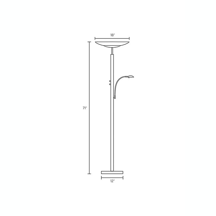Alternate image 1 for Adesso® Stellar Brushed Steel Torchiere Floor Lamp with Reading Light