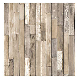 Brewster Home Fashions Barn Board Brown Thin Plank Wallpaper in Brown