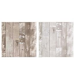 Heim Distressed Wood Panel Wallpaper