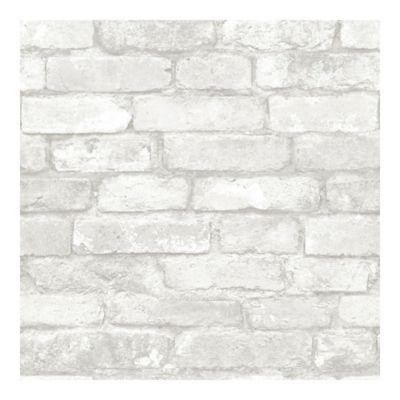 Nuwallpaper Brick Peel And Stick Wallpaper In Grey Bed
