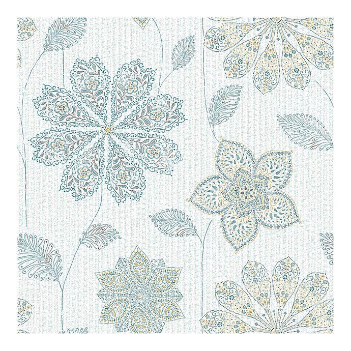 Nuwallpaper Gypsy Floral Peel Stick Wallpaper In Aqua Bed Bath Beyond