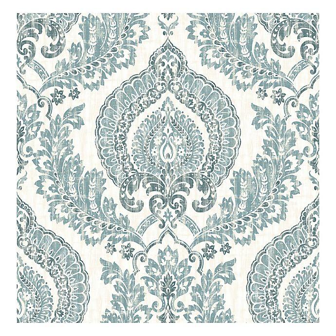 Nuwallpaper Kensington Damask Peel Stick Wallpaper In Blue Bed Bath Beyond