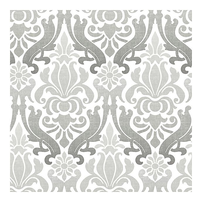 Nuwallpaper Nouveau Damask Peel And Stick Wallpaper In Grey Bed Bath Beyond