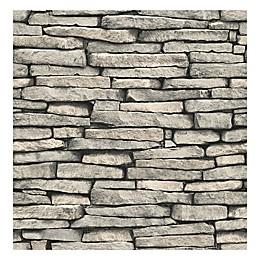Brewster Ledge Slate Wallpaper in Grey