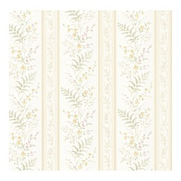 Brewster Kitchen & Bath Resource Bell Wildflower Stripe Wallpaper in Beige