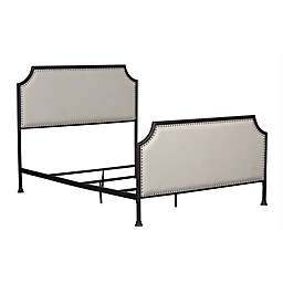 Pulaski Upholstered Metal Queen Bed with Tack Accent Border in Cream/Black