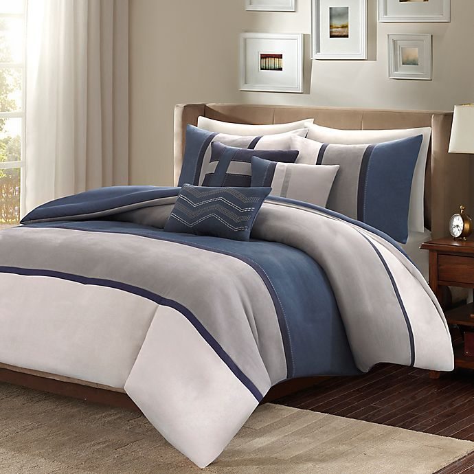 Alternate image 1 for Madison Park Palisades Reversible Full/Queen Duvet Cover Set in Blue