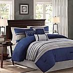 Madison Park Palmer 7-Piece Queen Comforter Set in Blue