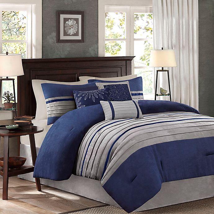 Alternate image 1 for Madison Park Palmer 7-Piece Queen Comforter Set in Blue
