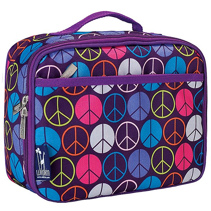 Alternate image 1 for Wildkin Peace Signs Lunch Box in Purple