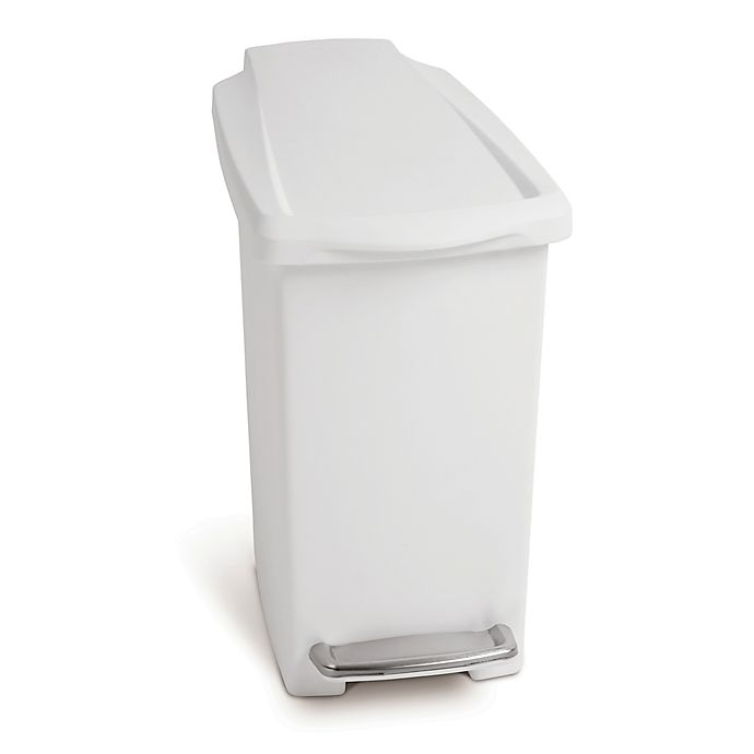 Alternate image 1 for simplehuman® Slim Step 10-Liter Trash Can in White