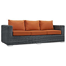 Modway Summon Outdoor Wicker Sofa in Sunbrella® Canvas