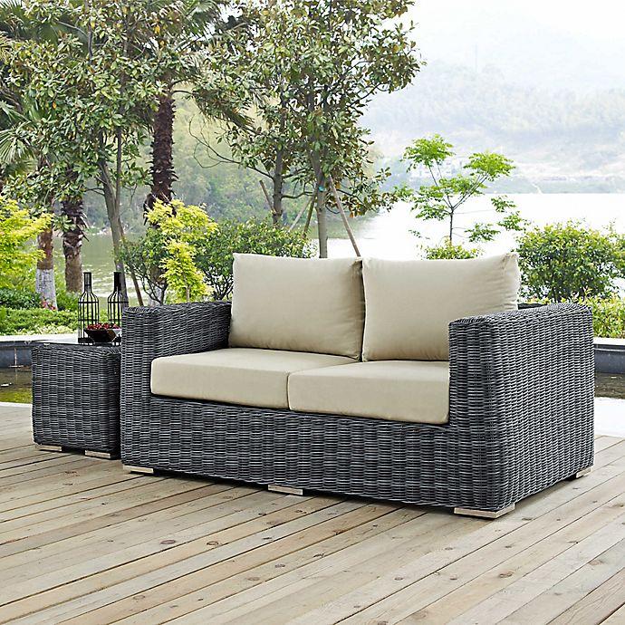 Alternate image 1 for Modway Summon Outdoor Wicker Loveseat in Sunbrella® Canvas