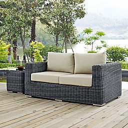 Modway Summon Outdoor Wicker Loveseat in Sunbrella® Canvas