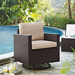 Crosley Palm Harbor All-Weather Resin Wicker Swivel Rocker Chair with Cushions