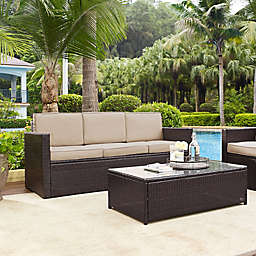 Crosley Palm Harbor All-Weather Resin-Wicker Sofa with Cushions