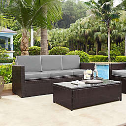 Modern Marketing Palm Harbor All-Weather Resin-Wicker Sofa with Cushions