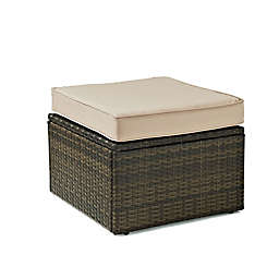 Crosley Palm Harbor All-Weather Resin-Wicker Ottoman with Cushion