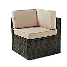 Crosley Palm Harbor All-Weather Resin Wicker Corner Chair with Cushions