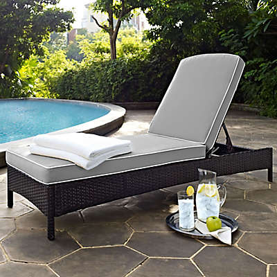 Crosley Palm Harbor Outdoor Wicker Chaise Lounge with Cushions