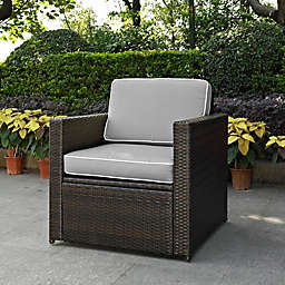 Crosley Palm Harbor Wicker Arm Chair in Brown