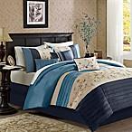 Madison Park Serene 7-Piece Queen Comforter Set in Navy