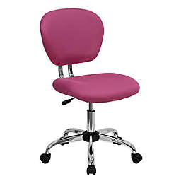 Flash Furniture Mid-Back Mesh Swivel Task Chair in Pink
