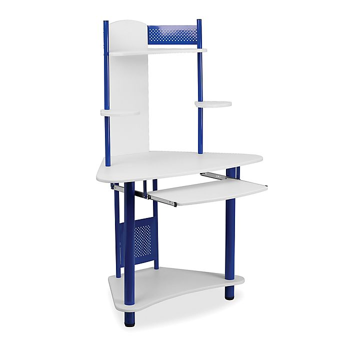 Flash Furniture Computer Desk With Hutch In Blue White