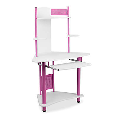 Flash Furniture Computer Desk with Hutch in Pink/White