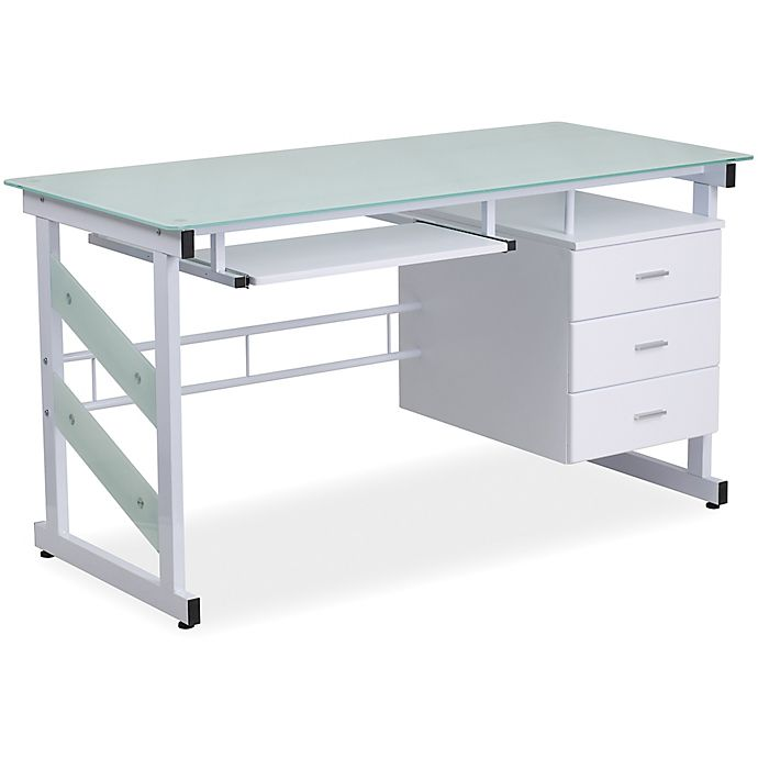 Flash Furniture Computer Desk With 3 Drawer Pedestal In White Bed Bath Beyond