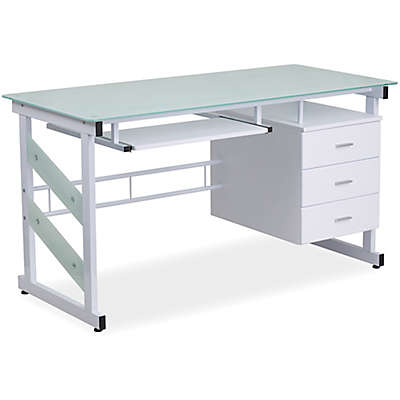 Flash Furniture Computer Desk with 3-Drawer Pedestal in White