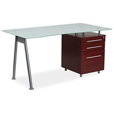 Flash Furniture Frosted Glass Computer Desk with Mahogany Three Drawer Pedestal
