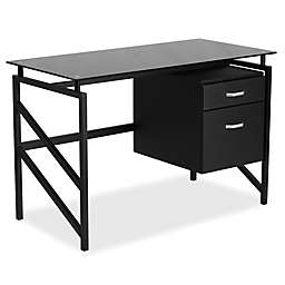 Flash Furniture Black Glass Desk with Two Drawer Pedestal