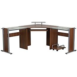 Flash Furniture Corner Laminate Desk with Pull-Out Keyboard in Teakwood
