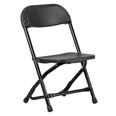 Flash Furniture Kids Plastic Folding Chair in Black