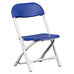 Flash Furniture Kids Plastic Folding Chair in Blue