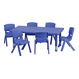 Flash Furniture Rectangular Activity Table with 6 Stack Chairs in Blue